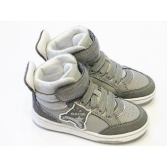 Geox J Mania Girls Grey Jersey & Leather High Top