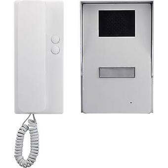 Basetech Door intercom Corded Complete kit Detached Silver, White