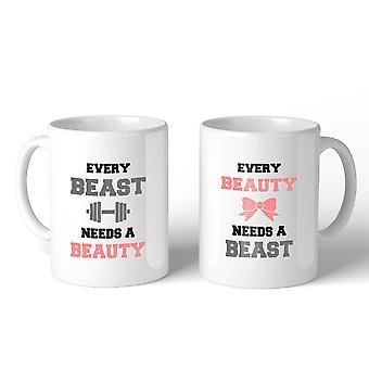 Cada bestia belleza 11oz juego par regalo tazas para regalo de recién casados
