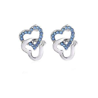 Womens Silver Tone Stud Earrings Light Blue Stones Heart Diamante UK Seller