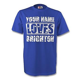 Su nombre le encanta Brighton camiseta (azul) - niños
