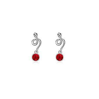 Slang kristallen van Swarovski Element rood en wit goud plaat oorbellen
