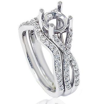 3/4ct Twist Engagement Ring Set 14K White Gold