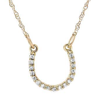 1/10ct Petite 14k Yellow Gold Diamond Horseshoe Pendant