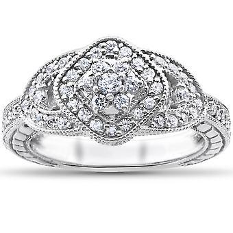 Diamant bague de fiançailles 3/4 Carat Unique coussin Vintage Halo 3-Stone or blanc