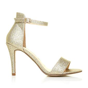 PAM Champagne Glitter Ankle Strap Barely There High Heel Sandals