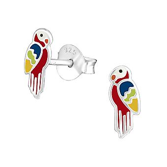 Parrot - 925 Sterling Silver Colourful Ear Studs