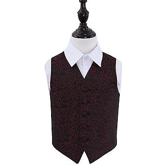 Black & Burgundy Swirl Wedding Waistcoat for Boys