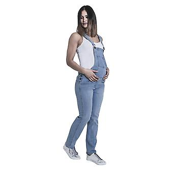 GRACE Maternity Dungarees - Palewash Denim Pregnancy Fashion Overalls