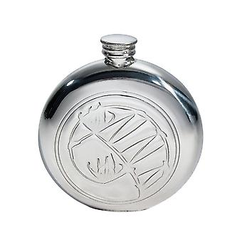 Round Knox Embossed Round Pewter Flask - 6oz