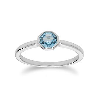 Gemondo Sterling Silver Blue Topaz November Single Stone Octagon Ring