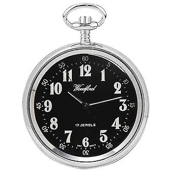 Woodford Chrome Plated Arabic Open Face Mechanical Pocket Watch - Silver/Black