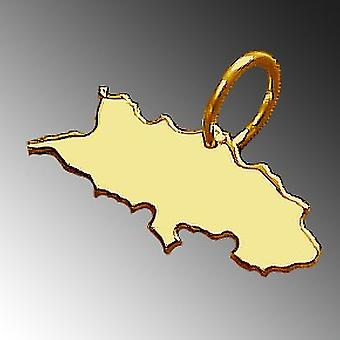 Trailer map SILESIA pendant in solid 585 gold