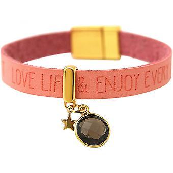 Damen - Armband - STAR - Stern - 925 Silber - Vergoldet - WISHES - Rosa - Pink - Rauchquarz - Magnetverschluss