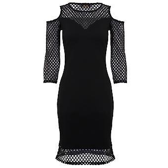 Ladies Long Sleeve Mesh Fishnet V Front Cut Out Cold Shoulder Bodycon Dress
