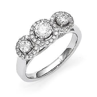 Sterling Silver Pave Rhodium-plated and Cubic Zirconia Brilliant Embers 3 Stone Ring - Ring Size: 6 to 8