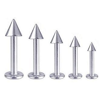 Labret Bar Tragus Monroe läpp Piercing Titanium 1,6 mm med Spike | 5 - 16 mm