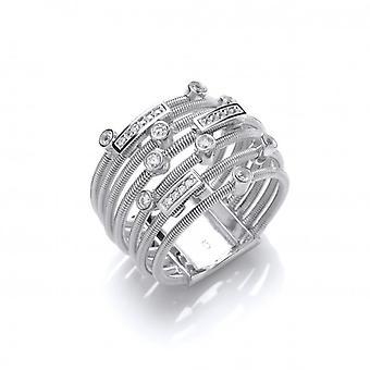 Cavendish Franse zilver en CZ Multi Wrap Ring