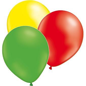 Ballonnen 24-pack 3 kleuren van geel, groen en rood