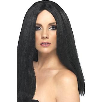 Long Black Straight Wig, Star Style Wig, Superstar Fancy Dress Accessory