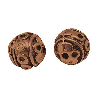 Packet 20 x Red Copper Tibetan 8mm Round Spacer Beads HA17515