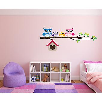 Full Colour Owls on a Branch Girls Wall Sticker