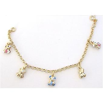 TOC Girls Sterling Silver Goldtone Colourful Teddy Bear Charm Bracelet 6.5