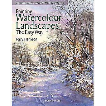 Pintura acuarela paisajes la manera fácil: cepillo con acuarela 2