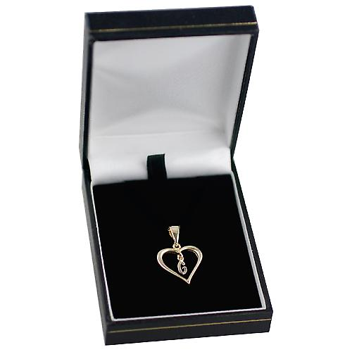 9ct Yellow Gold 18x18mm heart with a hanging Initial G