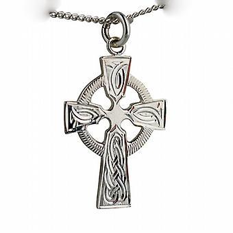 Sølv 28x20mm hånd gravert knute mønster keltisk kors med en fortauskant kjeden 24 tommer