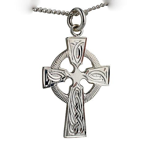 Silver 28x20mm hand engraved knot pattern Celtic Cross with a curb Chain 20 inches