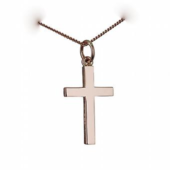 9ct Rose Gold 20x13mm plain solid block Cross with a curb Chain 24 inches