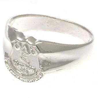 Everton Silver Plated Crest Ring Medium