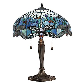 Lámpara de mesa azul de medio estilo Tiffany libélula - interiores 64089 1900