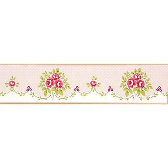 Blumenstrauß Wallpaper Border rosa Blüten Dotty grün Creme Boutique Luxus