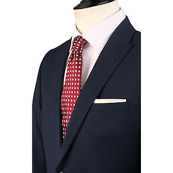 Dobell Mens Navy Suit Jacket Slim Fit Travel/Performance Notch Lapel