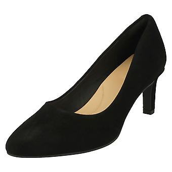 Ladies Clarks Textured Court Shoes Calla Rose - Black Suede - UK Size 7.5D - EU Size 41.5 - US Size 10M