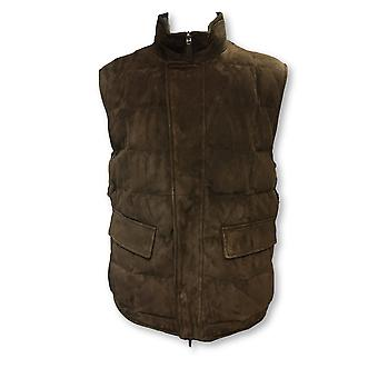 Canali reversible quilted gilet in brown suede/grey check