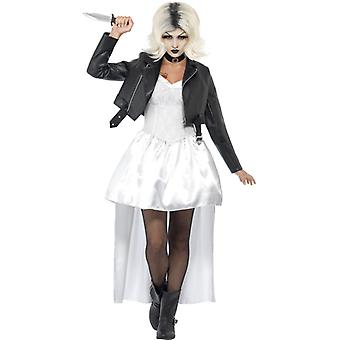 Bride of Chucky costume with white jacket dress and collar size M