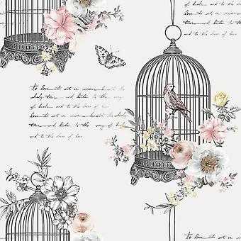 Diamond Birdcage Glitter Wallpaper Butterflies Birds Floral Grey Black Pink