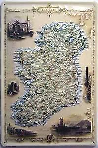 Old Map of Ireland embossed steel sign  (hi 3020)