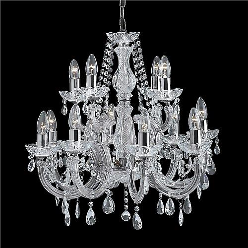 Searchlight 399-12 Marie Therese 12 Arm Crystal Glass Chandelier In Chrome