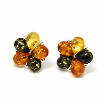 The Olivia Collection Sterling Silver Flower Shaped Amber Stud Earrings