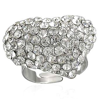 Clear Diamante Heart Ring