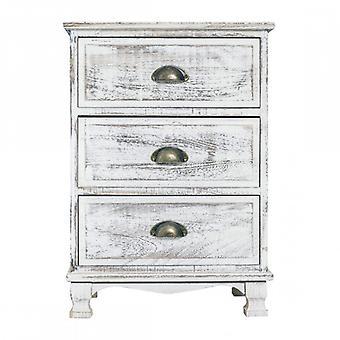 Furniture Rebecca Cassetti Comodino 3 Shabby White Wood drawers 63x45x30