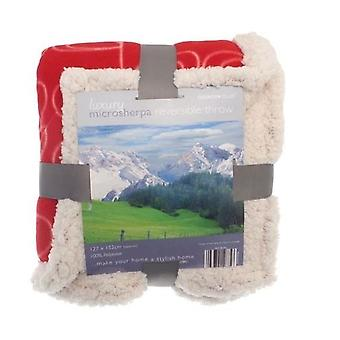 Leaf Design Sherpa Fleece Reversible Throw: Red