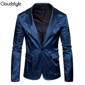 Allthemen Mens Paisley Tuxedo Jacket Smart Casual One Button Blazer Slim Fit Wedding Party Stage Blue