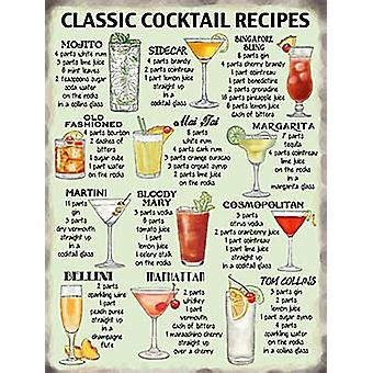 Classic Cocktail Recipes metal sign  200mm x 150mm (og)