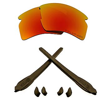 Replacement Lenses Kit Compatible with OAKLEY FLAK 2.0 XL Polarized Red & Brown