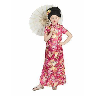 Costume pour enfants Costume chinois Hanako Girl Robe Rose/Colorful Carnival Asiatique